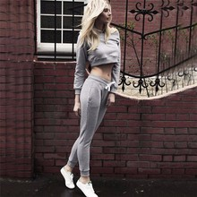 2016 New Autumn And Winter Slash Neck Casual Women Sets Clothes Short Sweatshirt + Full Length Pant Female Clothing Sets