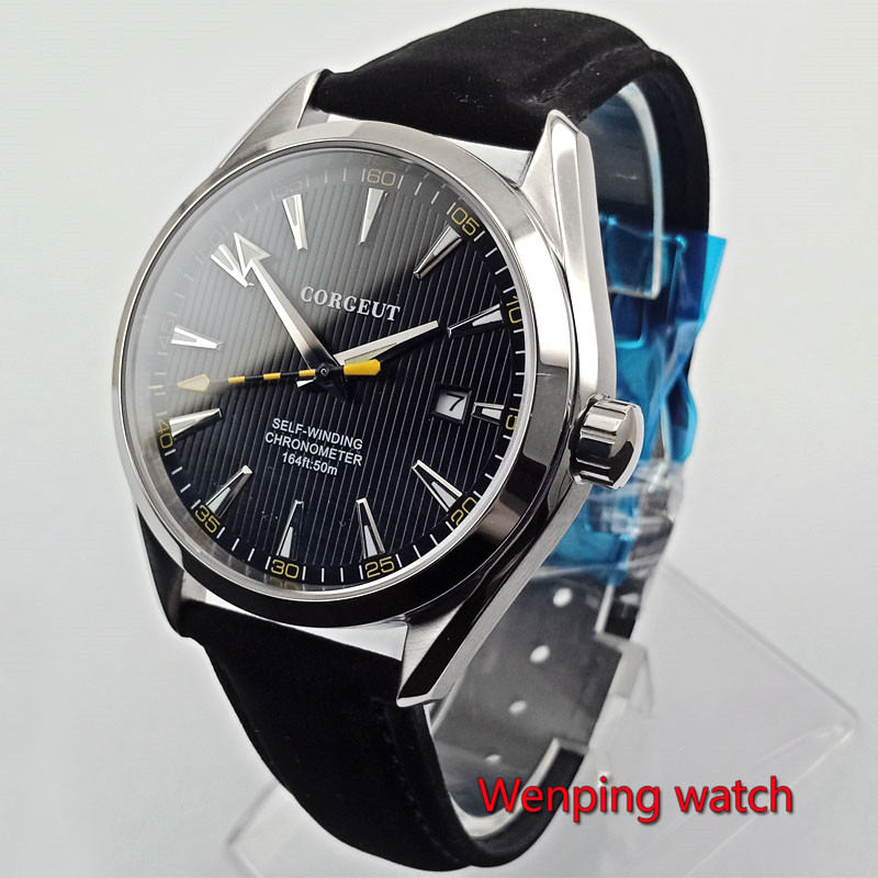 Polished 41mm men s Mechanical watch dial Luminous date sapphire glass 5ATM Automatic watch men W2750