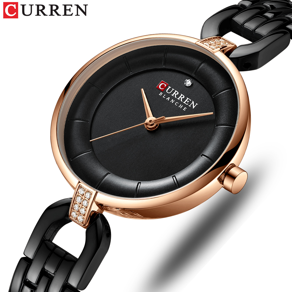 CURREN Fashion Women's Wrist Watches Black Ultra Thin Bracelet Ladies Watch Small Dial Women Watches Top Brand Luxury Waterproof(China)