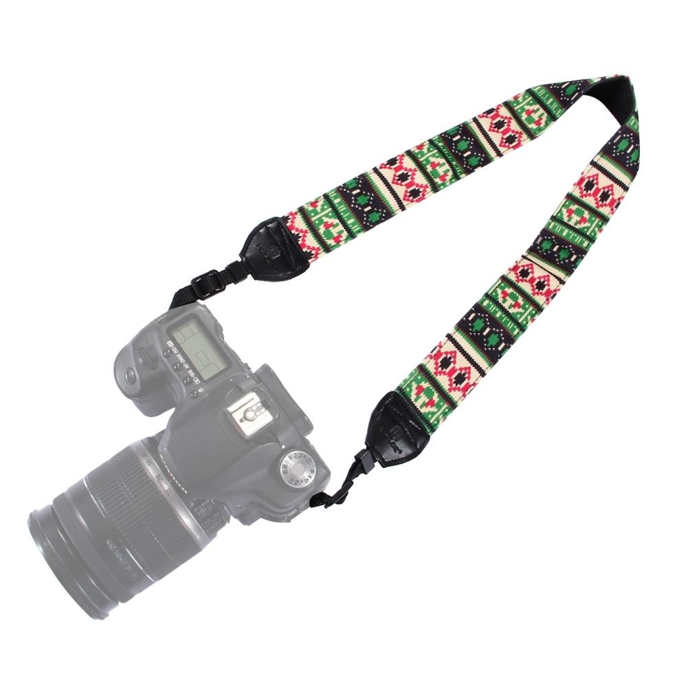 Cool Adjustable Ethnic Style Camera Strap Cotton Yard Pattern Neck Strap DSLR Shoulder Hand Strap Nylon & PU leather