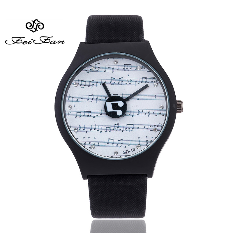 Creative turntable Fashion Luxury Women's Watches 2017 Casual musical note Design Girls Wristwatches Diamond Quartz Clock Gifts 140 page note paper creative fruit design