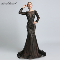 2018 New Arrivals Luxury Vintage Formal Celebrity Dresses Mermaid Zipper Floor Length Full Crystal Beading Robe