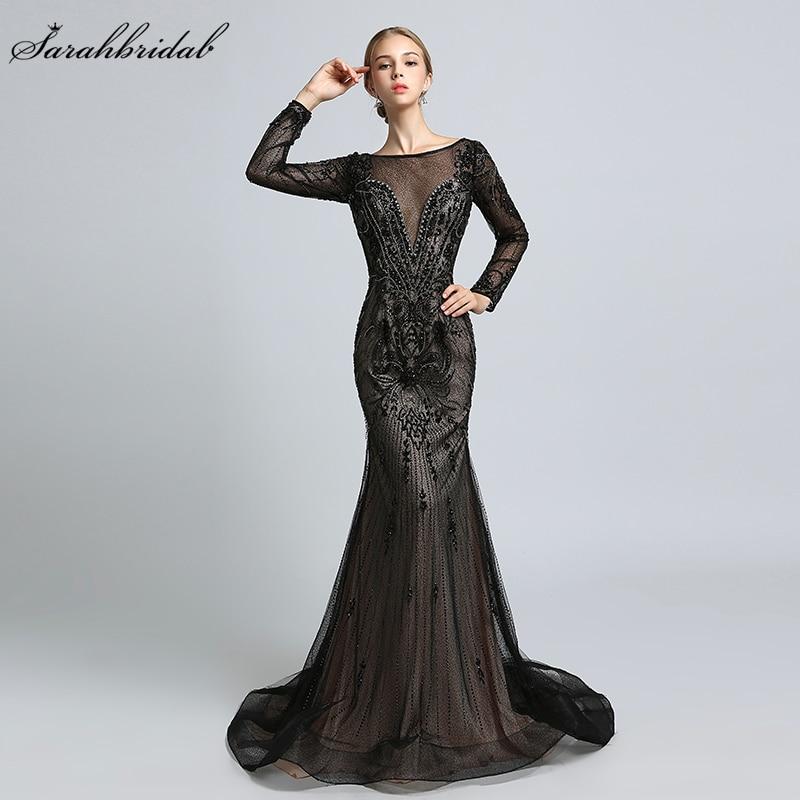 Luxury Formal Celebrity Dresses Mermaid Zipper Floor Length Crystal Beading Robe De Soiree Long Sleeves Red Carpet Gown LSX366