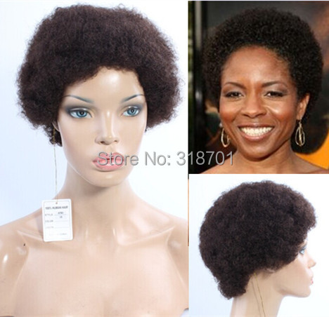 ФОТО wig humanhair Pretty Graceful Sexy African American Hairstyle Short Curly Black Brazilian Hair wig Attractive free shipping