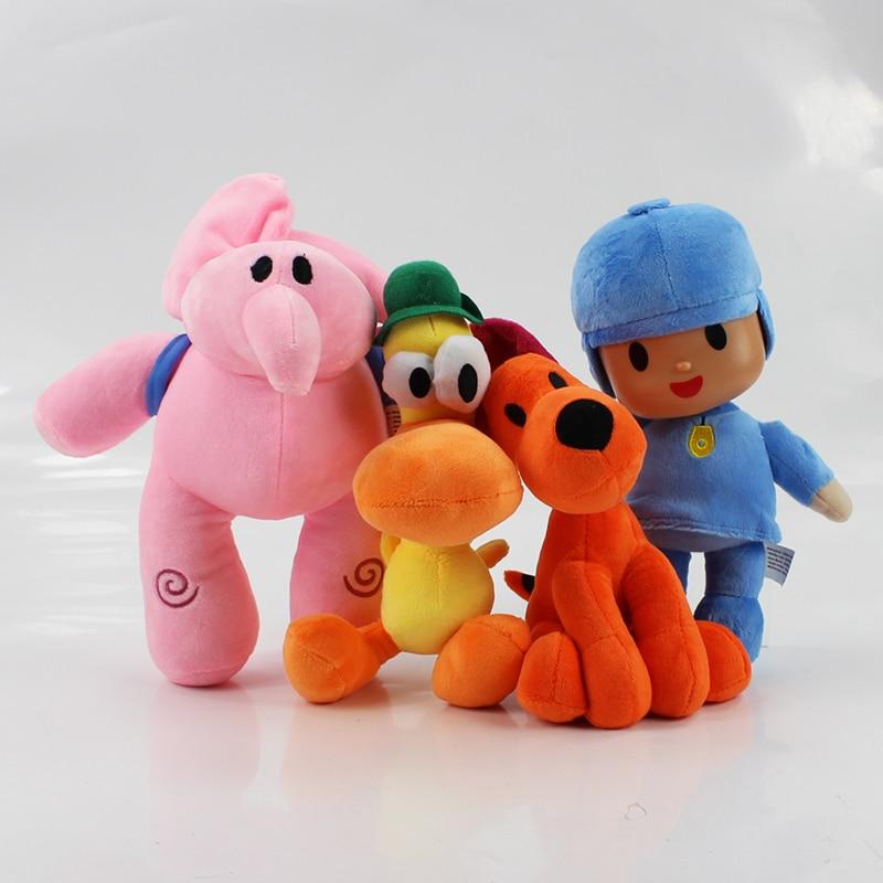 4pcs/lot 20-26cm Pocoyo Plush Elly Elephants plush Pato duck Stuffed Toys Animals Doll Toys For Kids Gifts