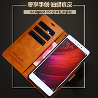 For Xiaomi Redmi Note 4 Case Luxury Oil Wax Genuine Leather Flip Cover With Magnetic Wallet