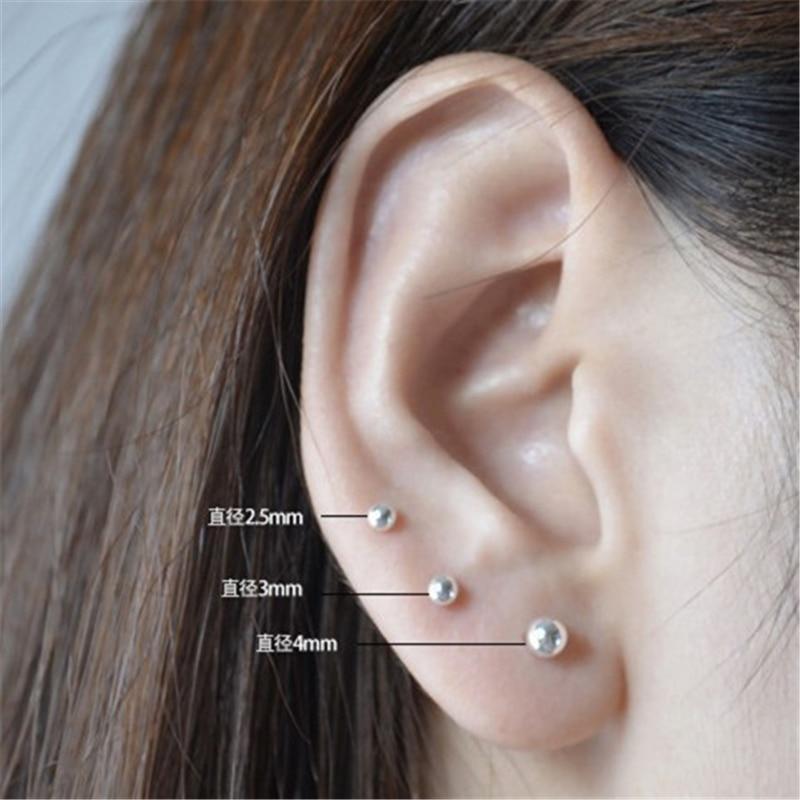 Topkeeping Brand Women Fashion Jewelry Low-key Sterling Silver Earring Simple Style Men Unisex 925 sterling silver Stud Earrings