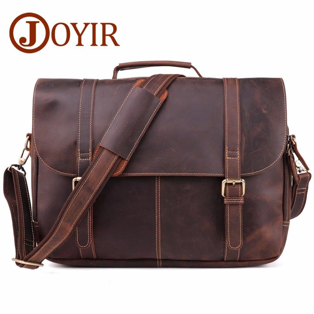 JOYIR Vintage Crazy Horse Leather Mens Briefcase Laptop Bag Business Genuine Men Shoulder Handbag