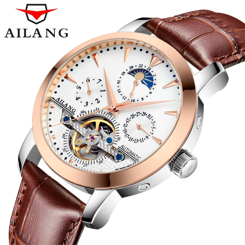Men's Watches Top Brand Luxury AILANG Automatic Mechanical Watch Tourbillon Clock Genuine Leather Casual Business Watch relogio 2018 ailang sapphire automatic mechanical watch mens top brand luxury waterproof brown genuine leather watch relogio masculine
