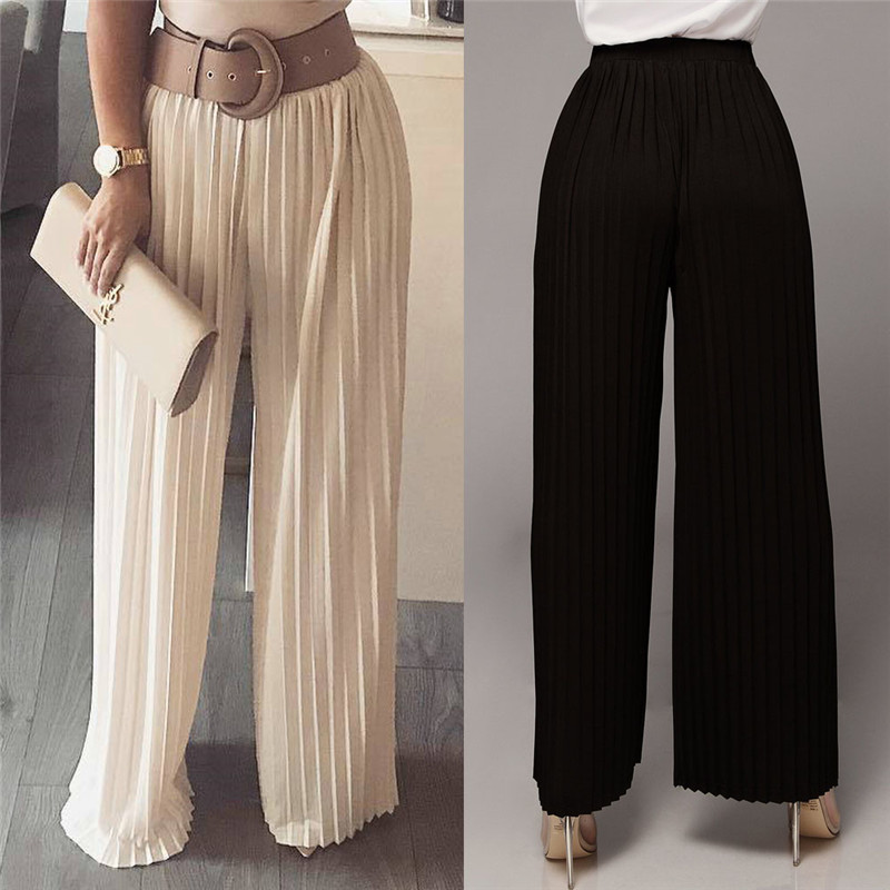 Womens Skirt   Pants   Pleated   Wide     Leg     Pants   Solid Color Elastic Waist Trousers Women Streetwear Loose Comfortable Long   Pants