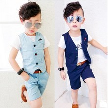 2017 Fashion Designs Children Hemp Vest Suits for Boys Brand England Style Kids Summer Weddings Waistcoat Suits Boys Outwear