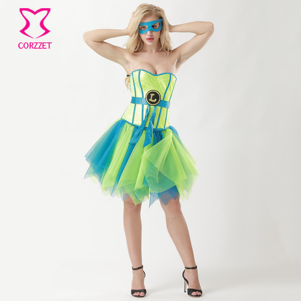 Underwear & Sleepwears Blue Satin And Neon Green Sequins Bustier Top Corset Sexy Gothic Clothing Supergirl Burlesque Costumes Corsets And Bustiers Mask High Quality Materials