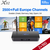 Europe Channels IPTV Box X92 TV Box Android 6 0 S912 2G 16G 1 Year IUDTV