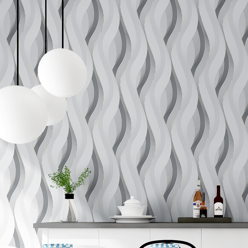 Modern 3D Curved Wallpapers Grey 3D Wallpaper Striped Living Room Background Vinyl PVC Wall Paper Roll papel de parede listrado a suit of graceful rhinestoned leaf necklace earrings ring and bracelet for women