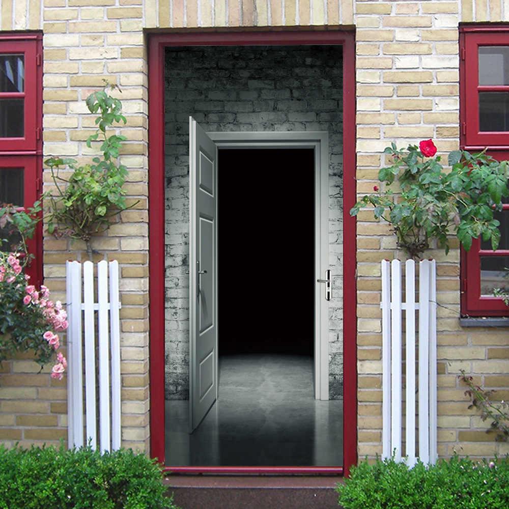 Túnel Sala Preta assustadora Prisão Fantasma Sombra DIY 3D Porta Etiqueta para Sala de Banho Porta Do Dormitório Casa Acessórios de Decoração Grande tamanho
