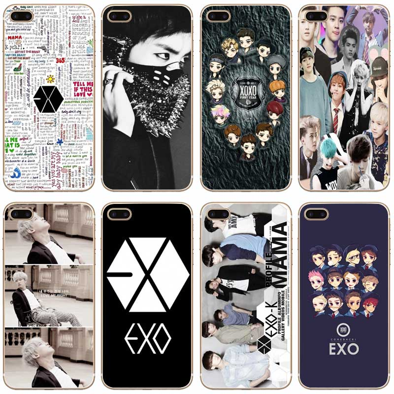 H451 Exo Kpop Band Bts Boys Transparent Hard Thin Case Cover For Apple iPhone 4 4S 5 5S SE 5C 6 6S 7 8 X Plus
