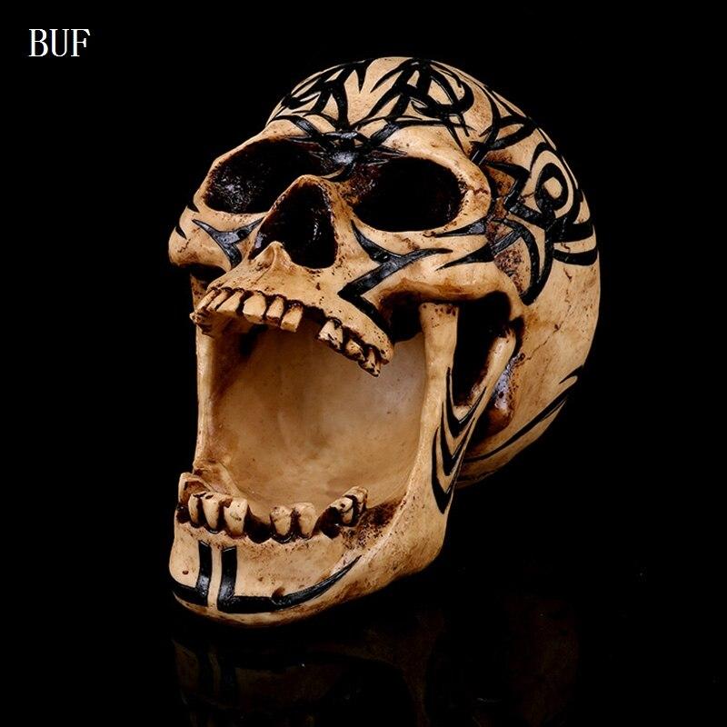 BUF résine artisanat Statues tête de crâne humain créatif crâne décoration Figurines Sculpture ornement décoration de la maison accessoires