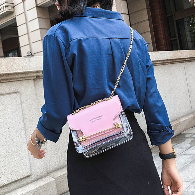 Women Small Composite Bag Transparent Casual Leather Trend Simple Chain Phone Beach Bag High Quality Messenger Bags For Girl
