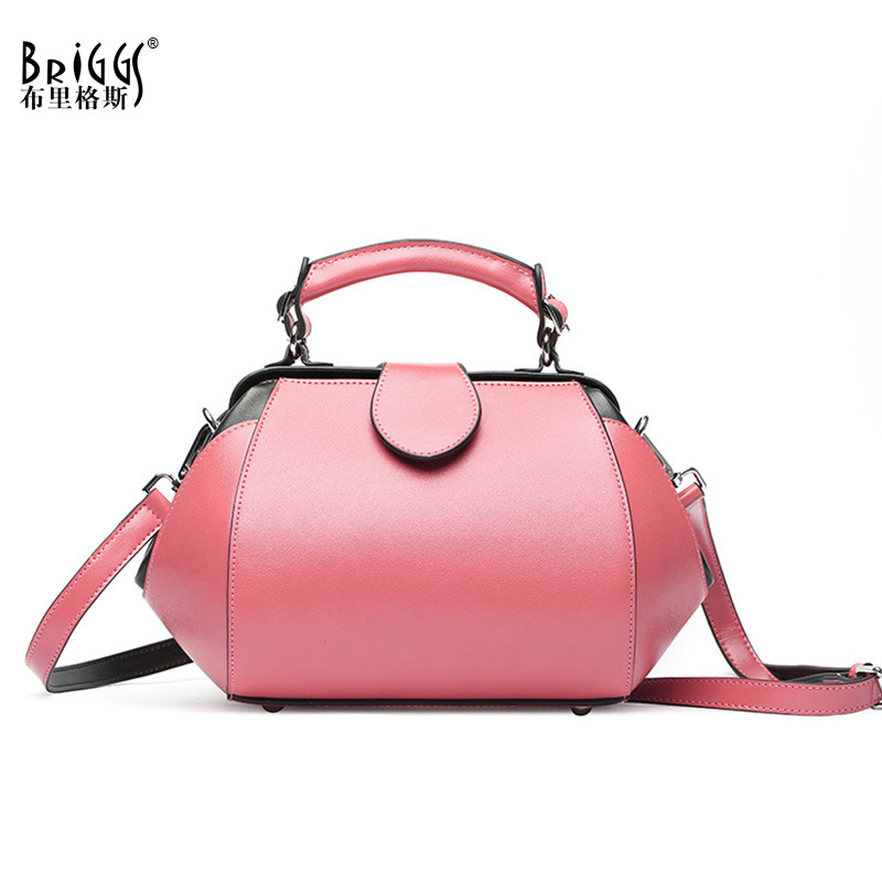 BRIGGS Brand Genuine Leather Women Shoulder Bag Soft Cow Leather Luxury Handbags Small Women Bags Designer Leather Casual Tote 2018 luxury brand trapeze platinum bags designer women cow leather shoulder bag scrub genuine leather messenger bag casual tote