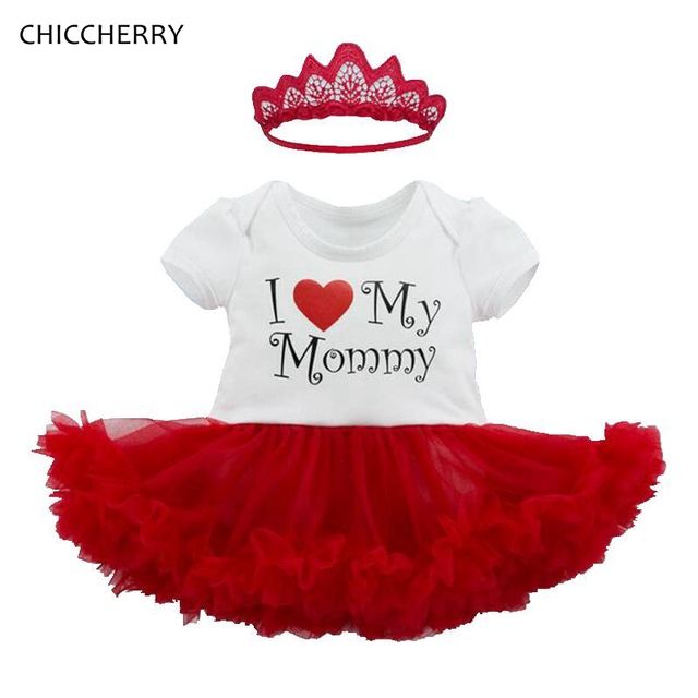f89f6a4e3 I Love My Mommy Baby Girl Clothes Lace Romper Dress Headband Newborn Tutu  Sets Happy Mother's Day Toddler Outfit Infant Clothing