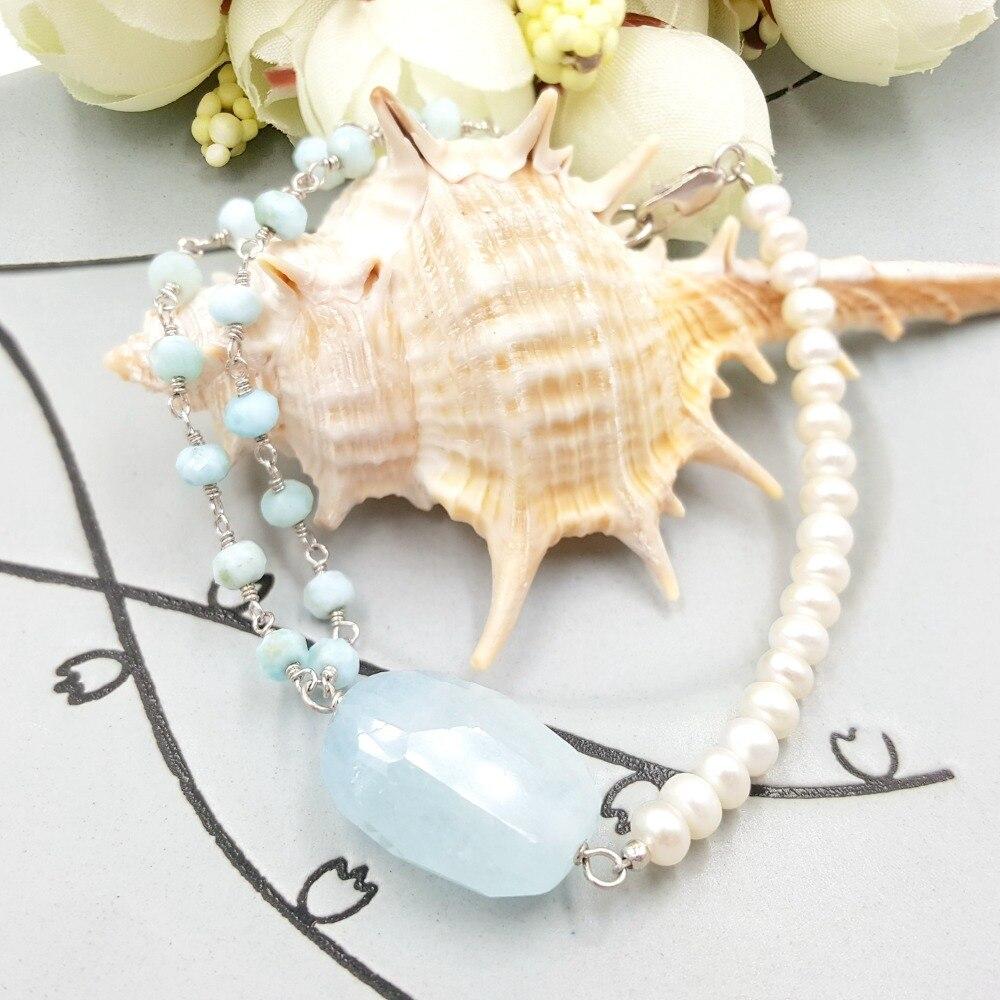 Lii Ji Unique aigue-marine, Larimar, perle d'eau douce 925 fermoir en argent Sterling brillant Bracelet Unique beau cadeau pour les femmes