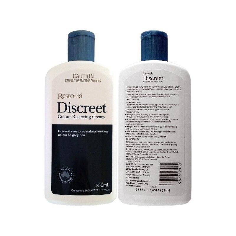 100%Australia made Restoria Discreet Colour Restoring Cream Lotion Hair Care250ml*2Pcs Reduce Grey Hair Suitable for Men &Women 1