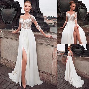 Chiffon Bateau Neckline See-through Bodice Cheap Sexy Wedding Dress Lace Appliques Front Slit 3/4 Sleeves Bridal Dress Plus Size