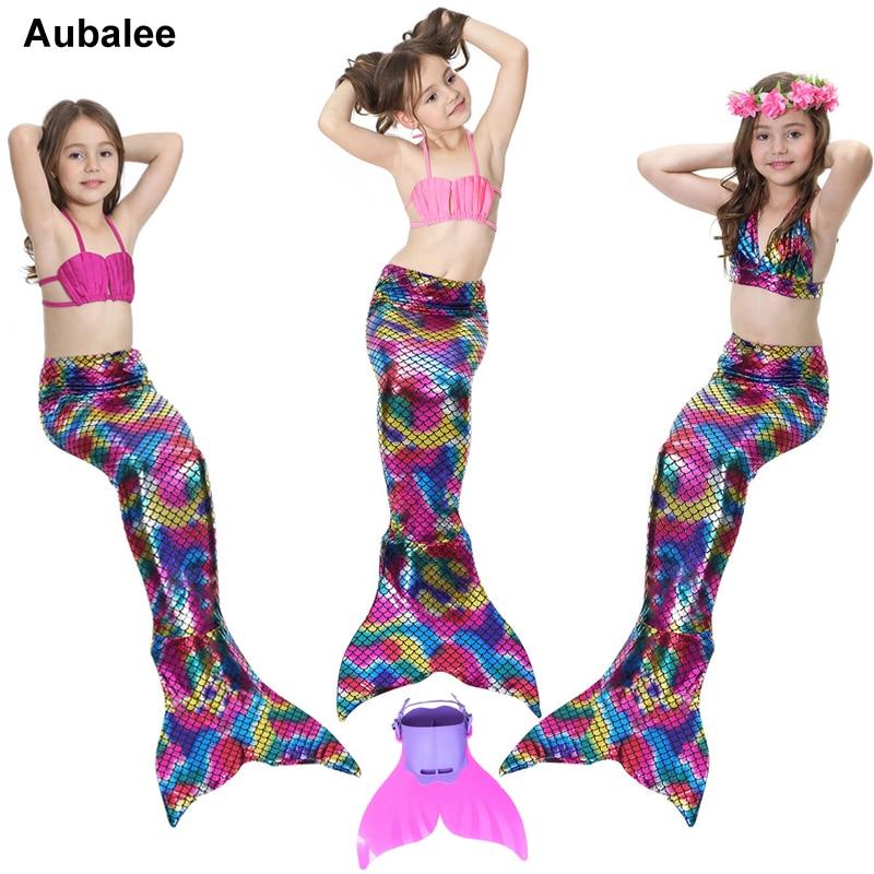 Kids Girls Fancy Mermaid Tail Costume Bikini Set New Mermaid Tail Swimsuit Children Swimming Bathing Suit Beach Swimwear Aubalee