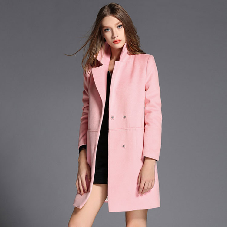 92f08a4d8d3e 2015 autumn red wool suit as loose long woolen trench coat women pink  fashion simple female windbreaker women's clothing-in Trench from Women's  Clothing on ...
