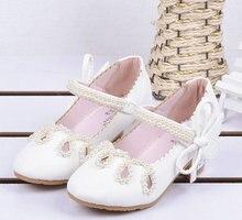 Nuevo Niños Niños Niñas Princesa Sandalias Zapatos de cuero Cadena de perlas Niñas Tacones altos Bowtie Espectáculo de zapatos de 4-12 años