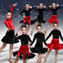 Girls Mermaid Latin Dance Skirt Ballroom Salsa Tango Skirts Kid Child Velvet Split Latin Dance Dress With Leotard And Skirt все цены