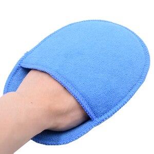 Image 1 - 5 pcs Tamanho Grande Microfibra Aplicador de Cera Do Carro Almofadas de Polimento De Esponja de Alta Densidade Bolso Luvas Remover A Cera Detalhamento Wash Limpa