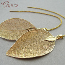 CANNER Metal Leaves Dangle Earrings for Women Vintage Tassel Drop Long Chain Statement Earings Fashion jewelry Brincos