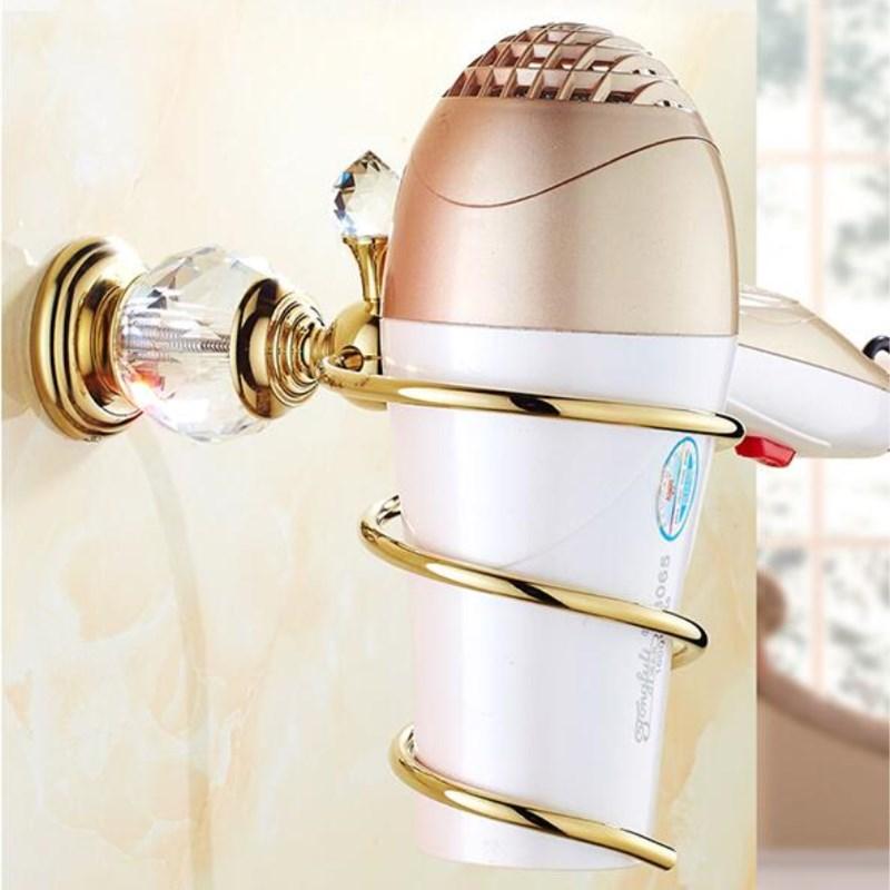 Free Shipping Bathroom Shelves Brass Crystal Bathroom Wall Shelf Wall mounted Hair Dryer Spiral Stand Holder