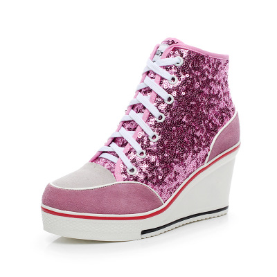 Women Wedges Badge High Top Platform Shoes Woman RED Black Casual Trainers Elevator Shoe High Heels Canvas Shoes Glitter