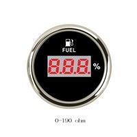 52mm Digital Oil Fuel Level Gauge Meter 0 190 ohm for Motorcycle Automobile Boat red backlight 9V 32V