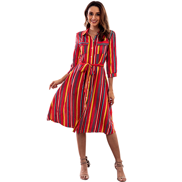 981dbaccc3a5 Boho Dress Maxi Button Down Rainbow Stripes T Shirt Dresses with Pockets  Down Roll up Sleeve A- Link Colorful Office Lady Dress