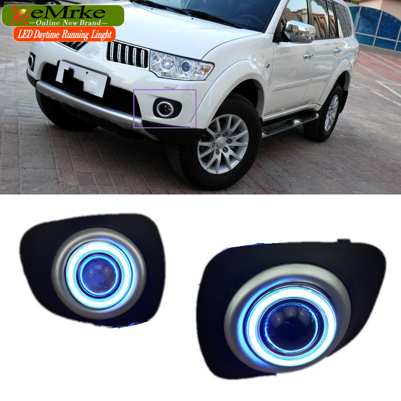 eeMrke LED Angel Eye DRL Daytime Running Lights For Mitsubishi Pajero Sport 2 Halogen H11 55W Fog Light Black Cover eemrke led angel eye drl for mazda 6 2003 2008 daytime running lights h11 55w halogen fog light lamp kits