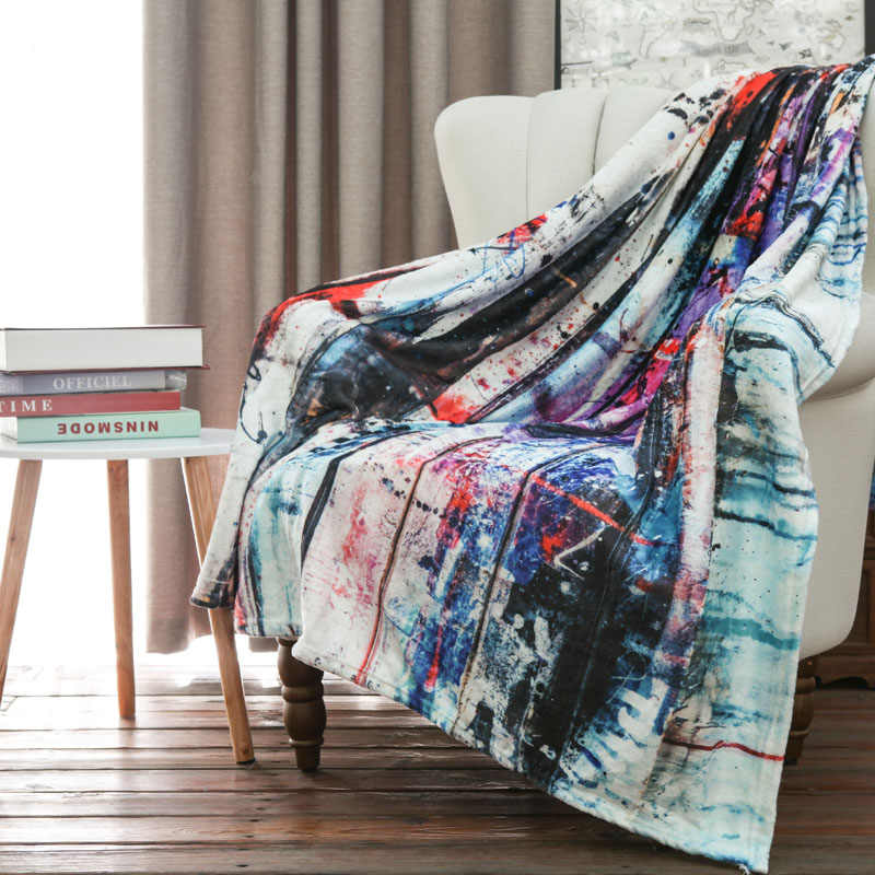 Creative Spray Painting Flannel Throw Knitted Blankets on the Bed Hippe Colorful Super Soft Warm Bedspreads on Sofa Furry Covers