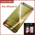 24kt oro cubierta para iphone 6 6 plus edición limitada espejo marco medio reemplazo contraportada vivienda para iphone 6 plus