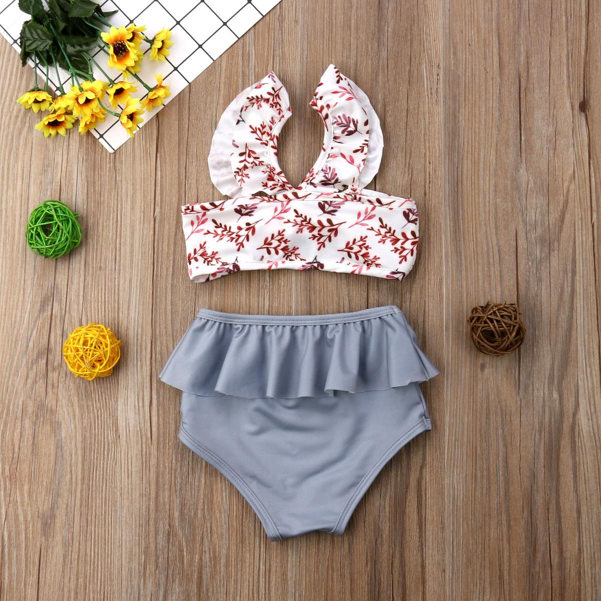 Лидер продаж, комплект из 2 предметов для маленьких девочек, Леопардовый цветочный принт, купальный костюм, бандаж, оборки, детский пляжный л... 21