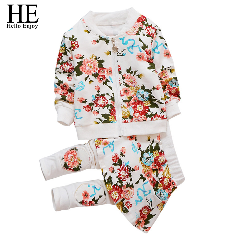 HE Hello Enjoy Toddler girls clothes autumn winter girl clothing sets 2017 long-sleeved jacket + skirt pants flower clothing set