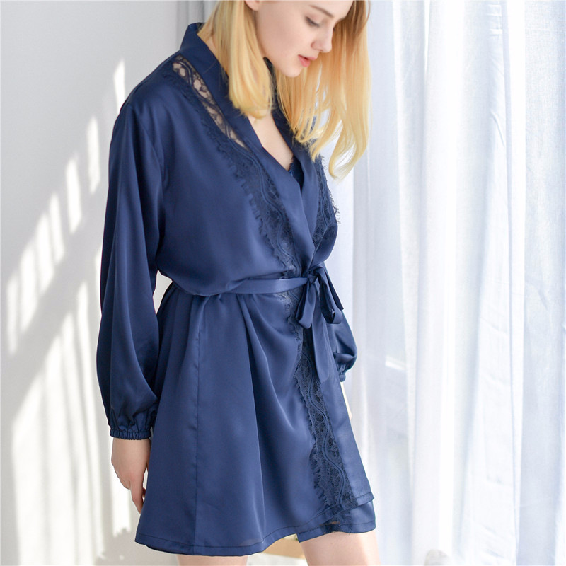 Hollow Out Kimono Bath Gown Lace Home Clothes Intimate Lingerie Women Robe Set Flower Sleepwear Rayon 2PCS Nightdress M L XL