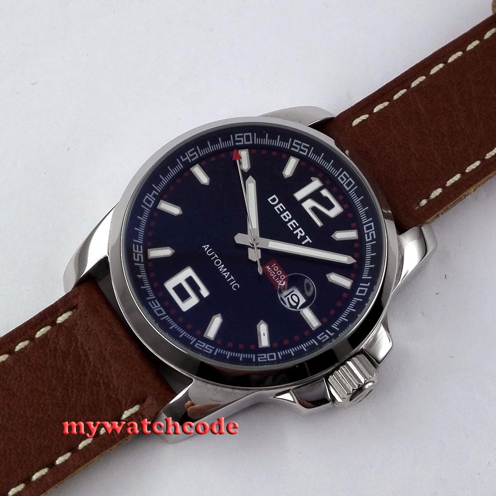 44mm Debert black dial data okno automatyczny ruch mężczyzna wrist watch D10 w Zegarki mechaniczne od Zegarki na  Grupa 2