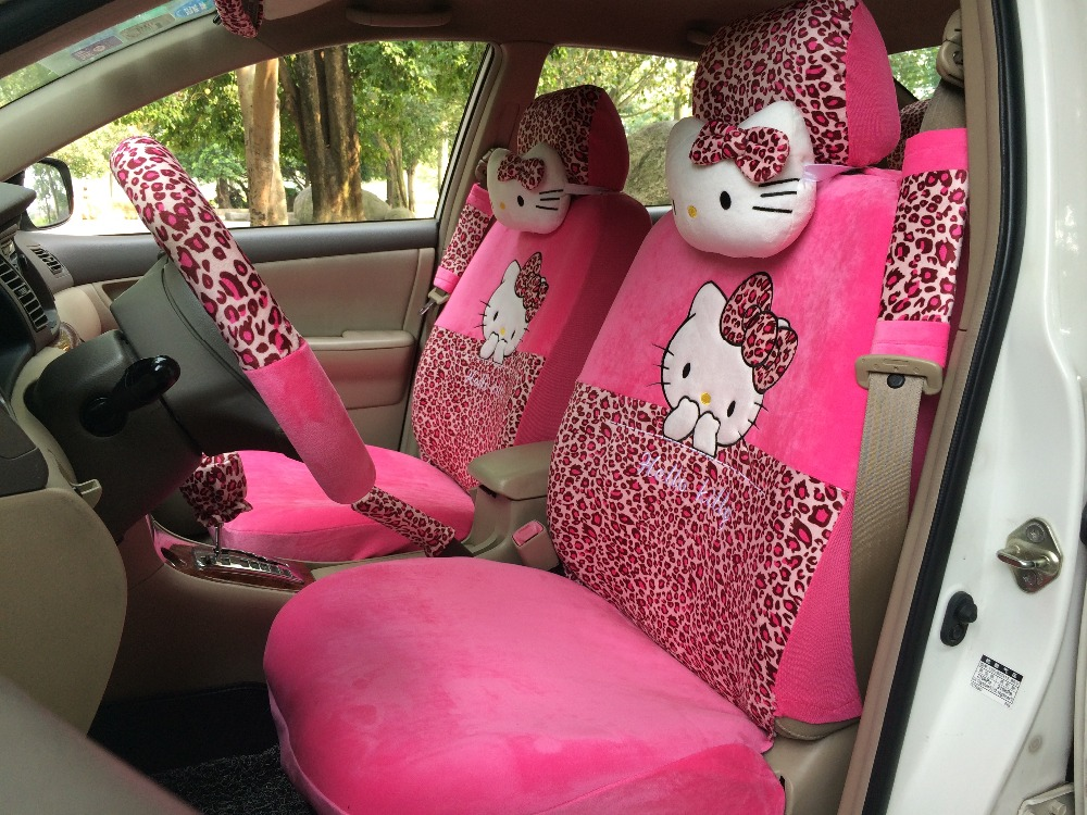 1Hello Kitty Dark Pink Rose Leopard Print Car Seat Covers Steering Wheel Cover Head Pillows Belt Shoulder Pads - Self Balance Scooters Manufacture store
