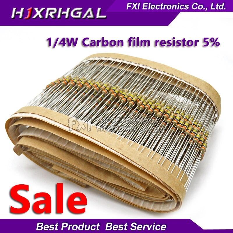100PCS 1/4W 1R~10M  5% Carbon Film Resistors 10R 47R 100R 220R 1K 10K 4K7 100K 560K 1M 3M3 Ohm Color Ring Resistance