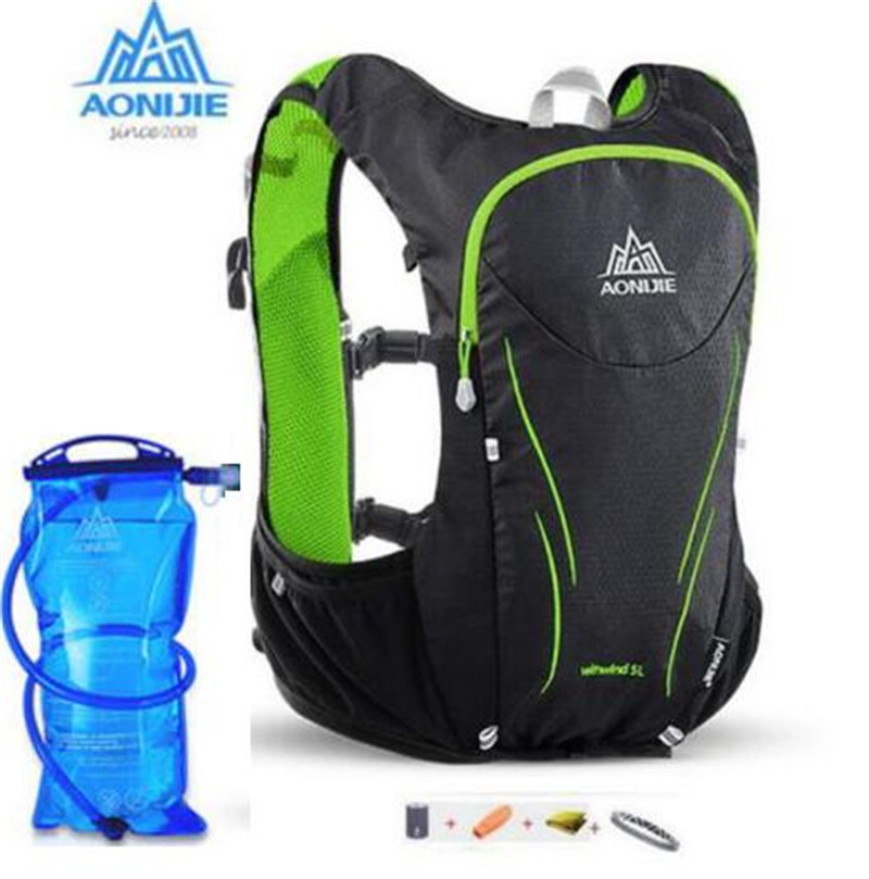 AONIJIE Women Men 5L Upgraded Marathon Hydration Vest Pack For 1.5L Water Bag Cycling Hiking Bag Outdoor Sport Running Backpack 3l tactical water bottle bag knapsack hydration backpack pouch hiking camping cycling pack canteen water bag molle
