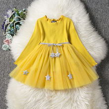 2019 Baby Girl Dress with Stars Princess Full Sleeve Tutu Dresses Children Autumn Spring Clothing for Kids Little Girls children girl rainbow tutu dress princess little horse tutu dresses little girls dress up fancy tutus baby clothing christmas