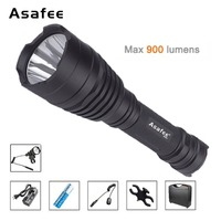 Asafee B58U Best Hunting Flashlight Torch Waterproof Cree XM L2 LED Outdoor Flashlights with 18650 Battery ABS Tool Case Suit
