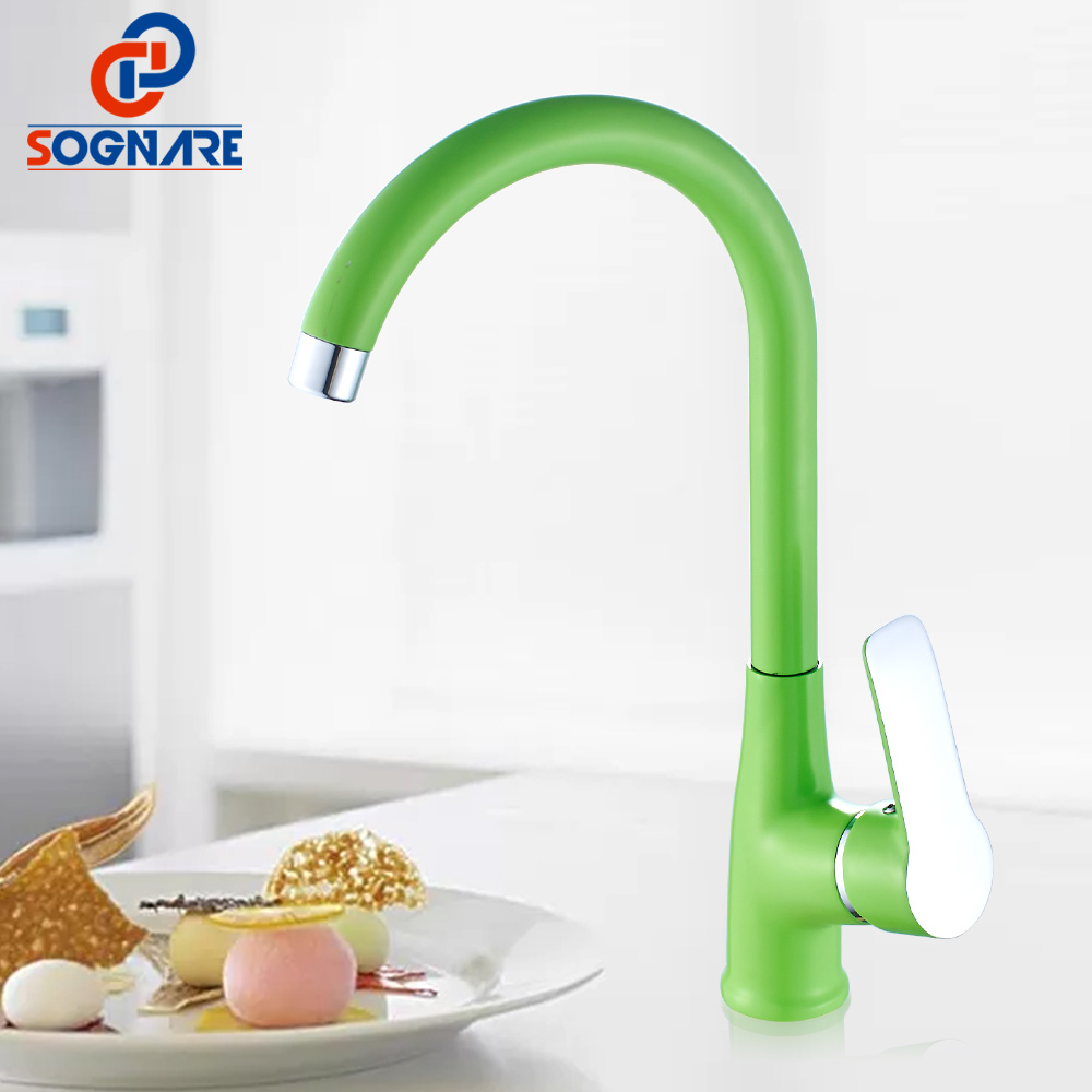 SOGNARE Water Saver Kitchen Faucet Green Kitchen Mixer Water Tap Single Handle Swivel 360 Degree Kitchen Taps Hot And Cold Crane